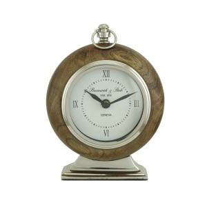 Round Walnut Timekeeper Table Clock