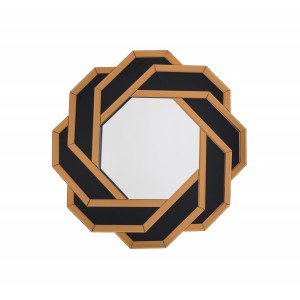 Black and Gold Octagonal Accent Wall Mirror