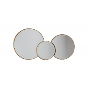 set of three round wall mirrors with a black and gold frame