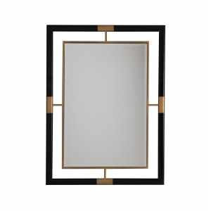 Marion Rectangular Wall Mirror with Metal Frame in Black and  Gold