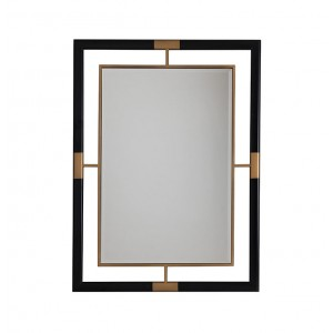 Rectangular Wall Mirror with Metal Frame in Black and Gold