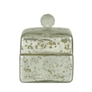 Joyero - Small Silver Square Box with Crystal Glass Knob