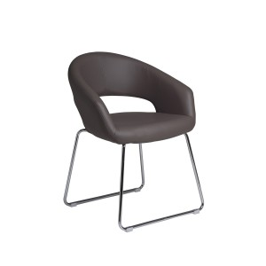 Nutshell  -  Taupe Dining Chair with Chrome Legs