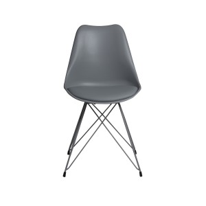 Grey Dining Chair with Powder Coated Metal Legs