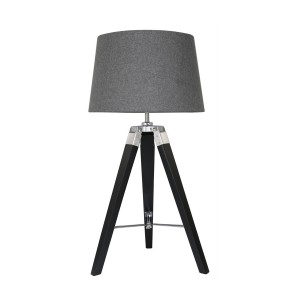 Black Tripod Table Lamp with Charcoal Shade