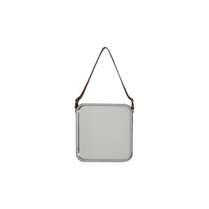 Catherine Industrial Square Mirror with leather strap