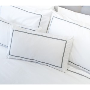 Slate - Inserted Grosgrain Oxford Pillow Case
