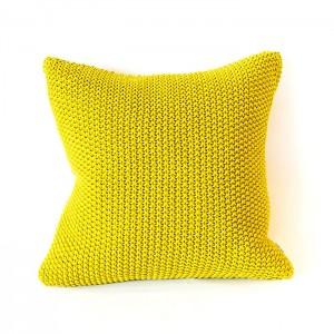 Squre Moss Stitch Cushion Cover Citrine