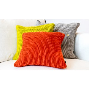 Square Moss Stitch Cushion Cover Orange