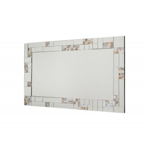 rectangular wall mirror with mother pearl frame