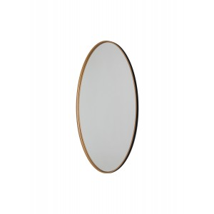 Andrea Oval Wooden Wall Mirror  in Black and Gold Colour