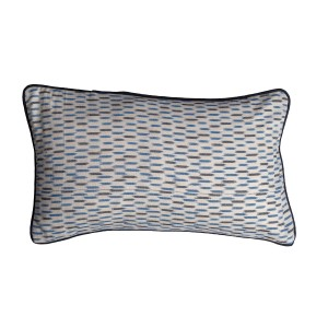 Single Blue Patterned Rectangle Cushion Cover with Piping