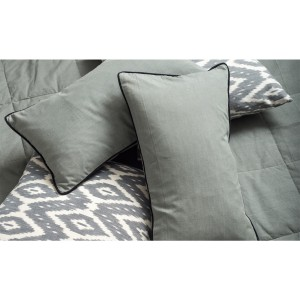 Mist - Grey cushion cover with black piping - Single