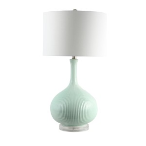Faye - Teal Colour Table Lamp with White Shade