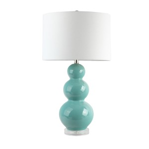 3 Ball Teal Table Lamp with White Shade