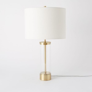 Round Glass Table Lamp with White Shade