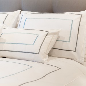 Thick Sateen Silver Grey Stitch Double Duvet Cover