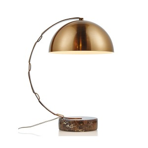 Golden Finish Steel And Marble Table Lamp