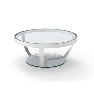 Sheer  - Stainless Steel Polished Round Coffee Table with Clear Glass