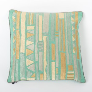 Mint Folk - Teal Cotton Cushion Cover with Thread Embroidery
