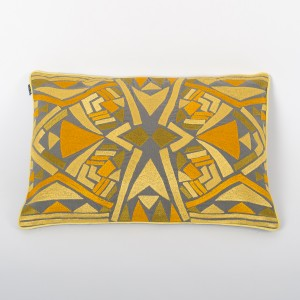 Petite Amber Folk - Grey Cotton Cushion Cover with Citrine Thread Embroidery