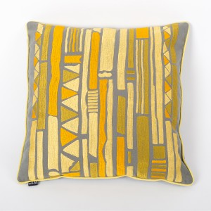 Amber Folk - Square Grey Cotton Cushion Cover with Citrene Thread Embroidery