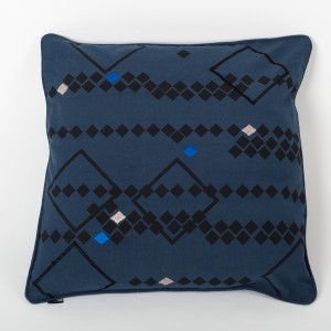 Rhombus Azure - Ink Blue Cotton Cushion Cover with Thread Embroidery