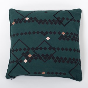 Rhombus Jardin - Moss Green Cotton Cushion Cover with Thread Embroidery
