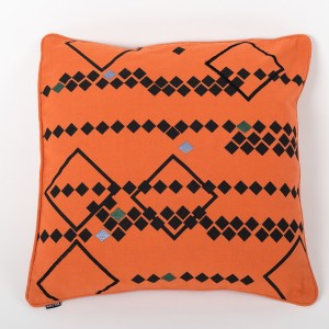 Rhombus Nova - Orange Cotton Cushion Cover with Thread Embroidery