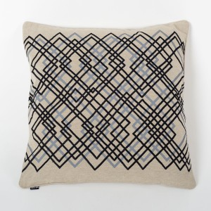 Laser Earth - Natural Cotton Cushion Cover with Thread Embroidery