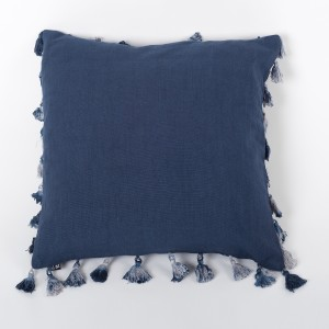 Mane Azure - Ink Blue Linen Cushion Cover with Tassels