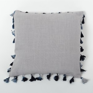 Mane Luna - Silver Grey Linen Cushion Cover with Tassels