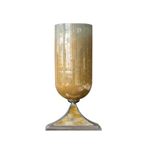 Dawn Large - Caramel Pillar Holder Aluminium and Glass