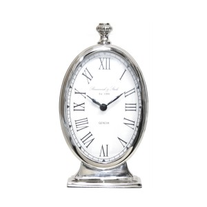 Ticker - Oval Silver Table Clock