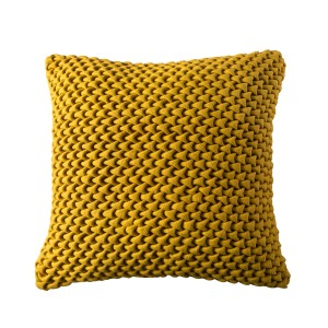 Felt Yellow Dyed Knitted Cushion Cover with Filler