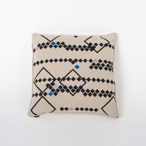 Rhombus Earth - Natural Cotton Cushion Cover with Thread Embroidery
