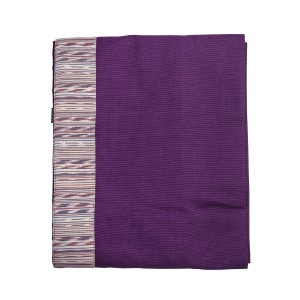 Chateau - Purple panel throw with top and bottom border - Single