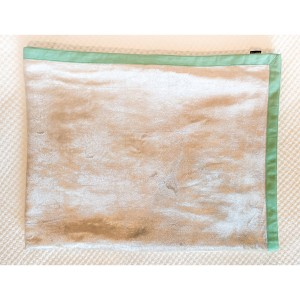 Renoir Mint - Plain Wheat Velvet Throw with Teal Piping