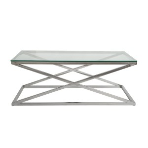 Bridge  - Stainless Steel Polished Coffee Table with Clear Glass